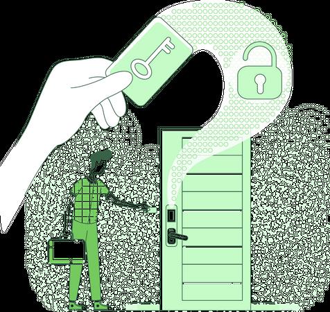 Man using Electronic key to open  lock Illustration