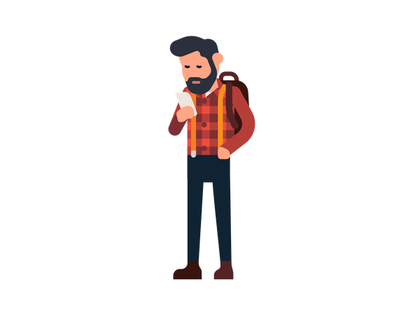 Man using his mobile Illustration