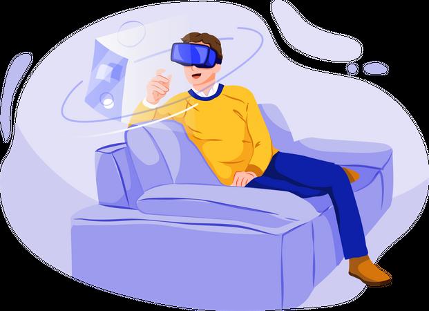 Man using leisure time enjoying wearing vr glasses Illustration