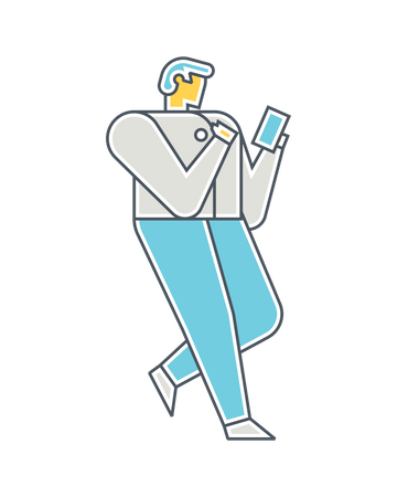 Man using mobile Illustration