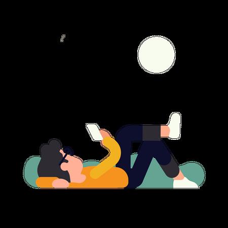 Man using mobile during free time Illustration
