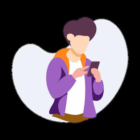 Man using mobile phone Illustration