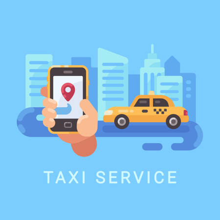 Man Using Online Cab Booking Service Application In Smartphone Illustration