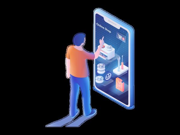 Man using online car service app Illustration