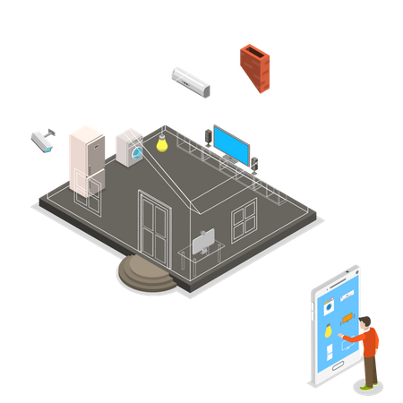 Man using smart home features Illustration