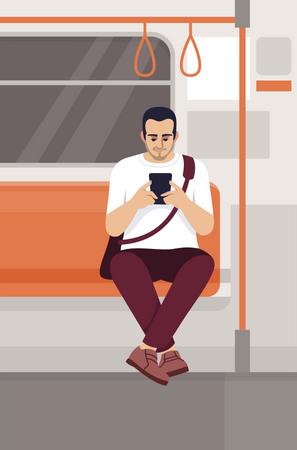 Man using smartphone in train Illustration