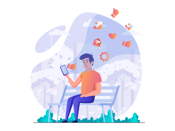 Man using social media Illustration