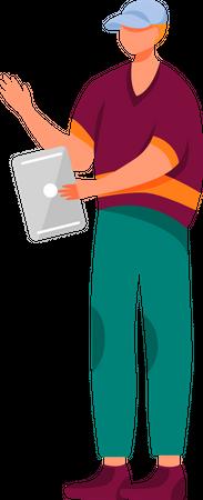 Man Using Tablet Illustration