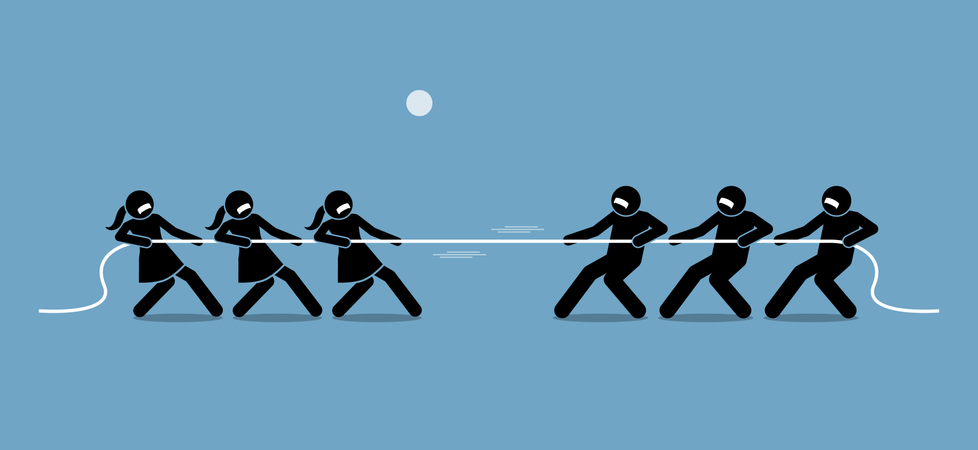 Man vs Woman in Tug of War Illustration