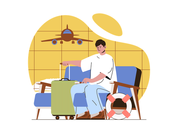 Man waiting for flight Illustration