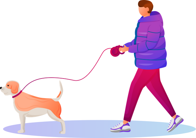 Man walking in winter with his pet Illustration