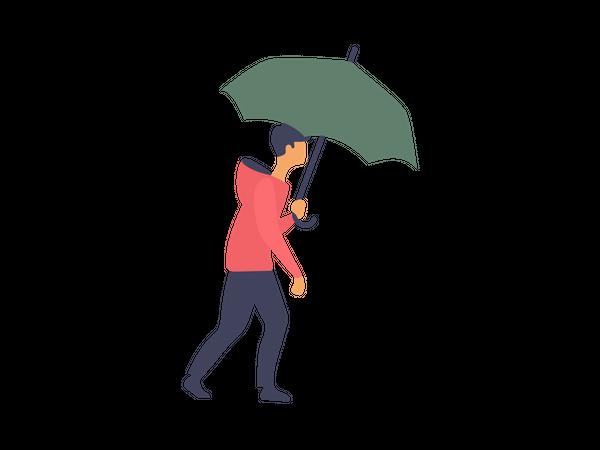 Man walking while holding umbrella Illustration