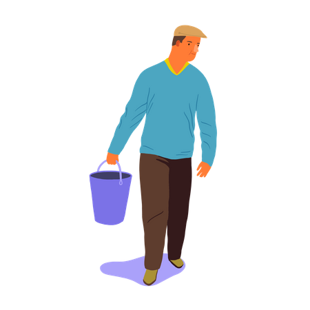 Man walking with bucket in his hand Illustration