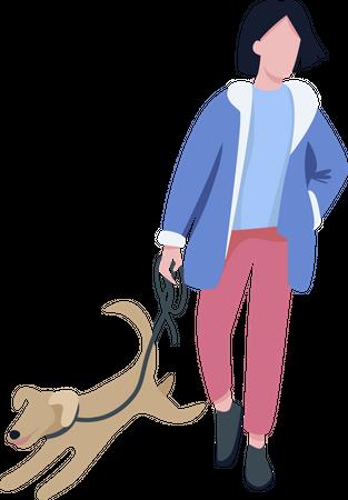 Man walking with dog Illustration