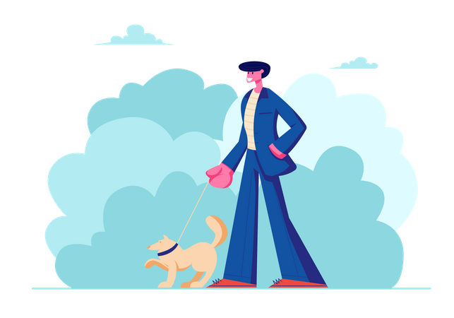 Man Walking with Dog Outdoors on Summertime Illustration