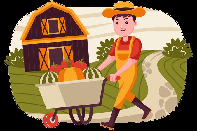 Man walking with fruit trolley Illustration