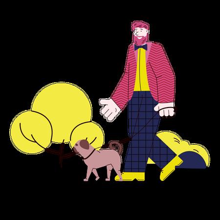 Man walking with his dog Illustration