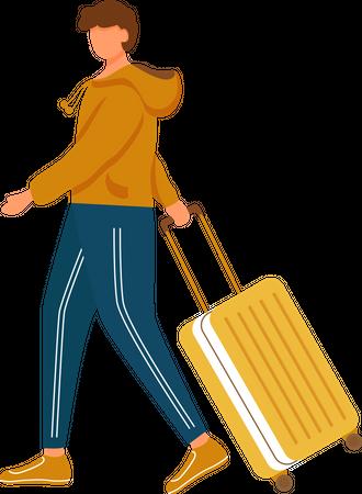 Man Walking with luggage Illustration