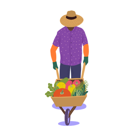 Man walking with trolley of vegetables Illustration