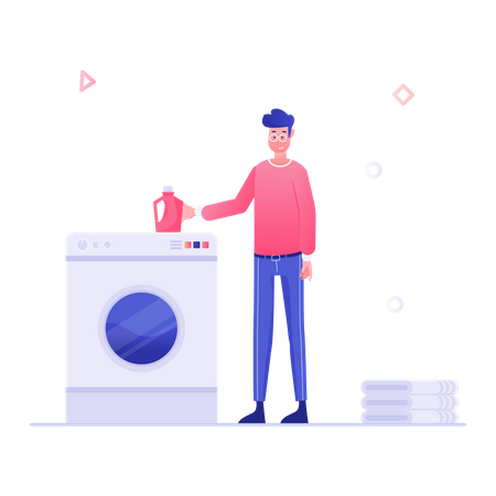 Man washing clothes in washing machine Illustration