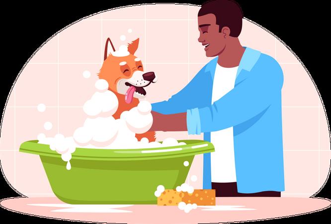 Man washing dog Illustration