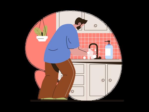 Man washing hand due to coronavirus pandemic Illustration