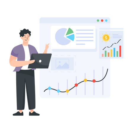 Man watching growth in sales chart Illustration