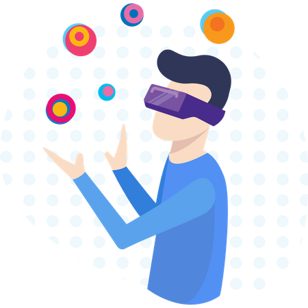 Man watching in vr glasses with digital innovation Illustration