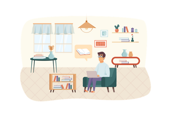 Man watching online course or reading e-book at laptop sitting in living room Illustration