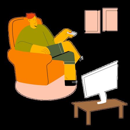 Man watching TV Illustration