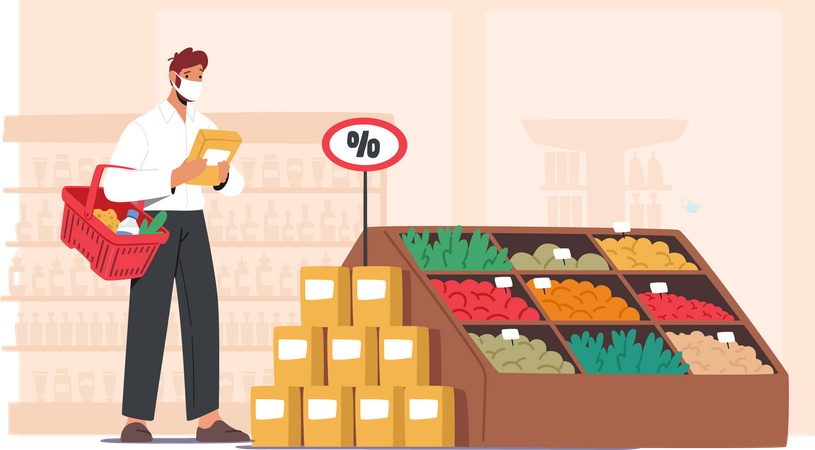 Man wearing mask and shopping for vegetables Illustration