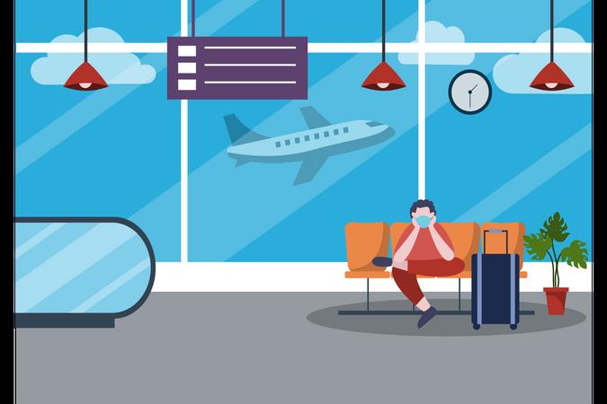 Man Wearing Masks While Waiting at the Airport Illustration