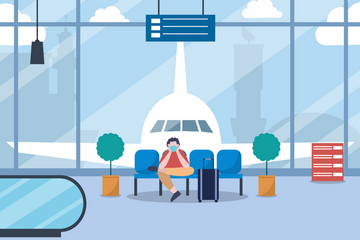New Normal In The Interior And Exterior Airport Illustration Pack
