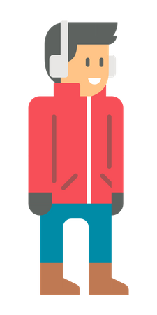 Man wearing warm clothes in winter Illustration