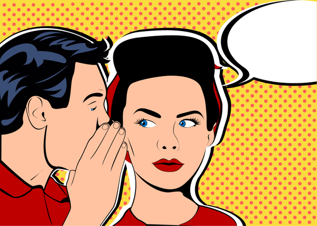 Man whispering gossip or secret to his girlfriend or wife Illustration