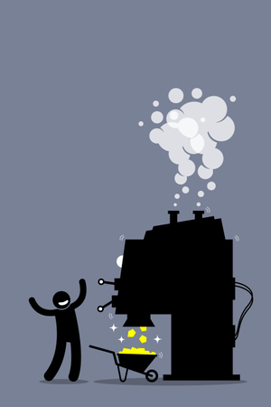 Man with a gold making machine Illustration