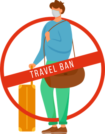 Man with baggage and Avoid public transport Illustration