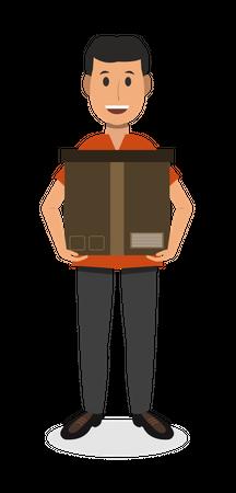 Man With Box Illustration