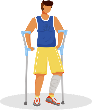 Man with crutches Illustration