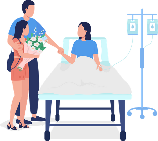 Man with daughter visiting wife in hospital Illustration