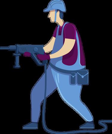 Man with drilling machine Illustration