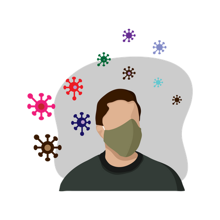 Man with facemask Illustration