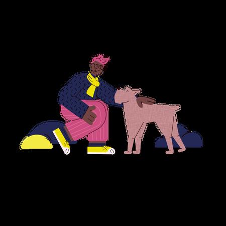 Man with his dog Illustration