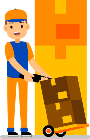 Man with loaded delivery cart Illustration