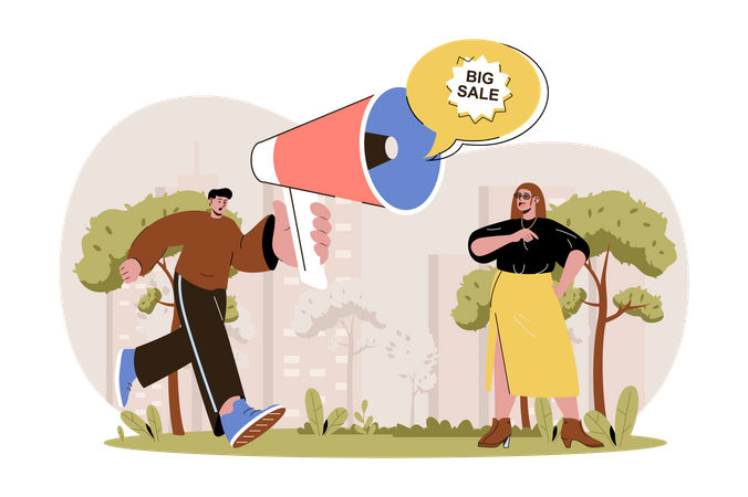 Man with loudspeaker advertises big sale and attracting woman customer to shopping Illustration