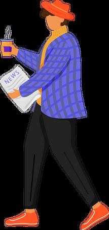 Man with morning newspaper Illustration