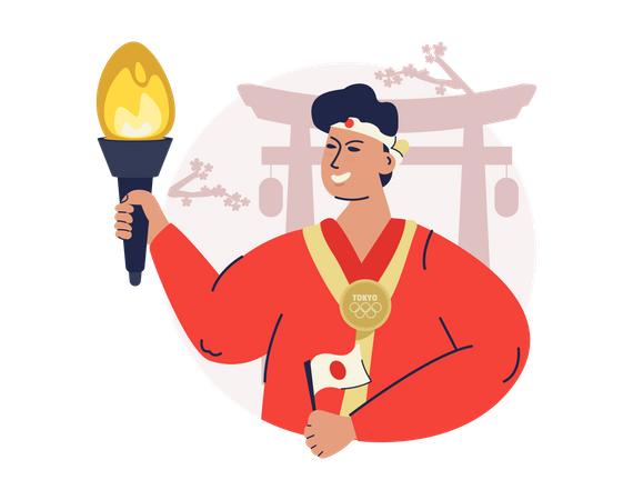Man with olympic torch Illustration