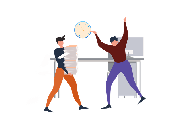 Man with Paper Sheet Stack and angry boss Illustration