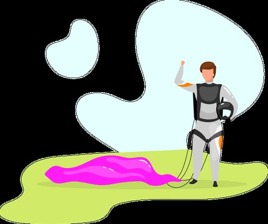 Man with parachute Illustration