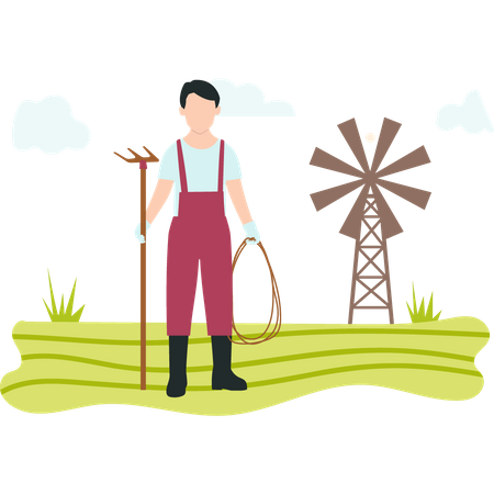 Man with pitchfork standing in farm Illustration